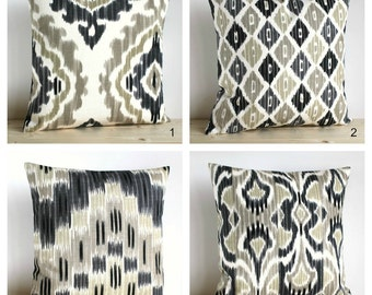 Ikat Decorative Pillow, Neutral Ikat Pillow Sham, Ikat Pillows, Cushion Cover, Pillow Covers, Ikat Cushions - Ikat Neutral Collection