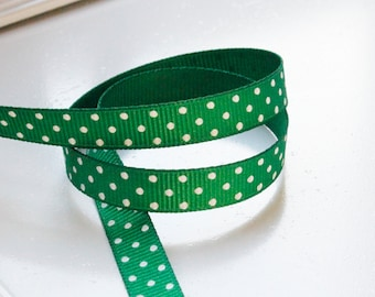 Green Swiss Dots 3/8 inch Grosgrain Ribbon - Choose 1, 5, 10, 20 or 50 yards - Hairbow Supplies, Etc.