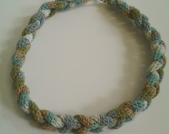 Variegated Multicolor Braided Crocheted Necklace