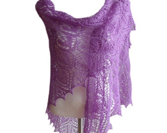 Hand knitted lilac pink pure cashmere luxurious lace triangle shawl delicate warm