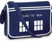TARDIS Police Box Retro Messenger Bag  - FREE Shipping - Whovian Geek Fan Doctor Who Inspired Design