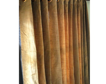 """Gold Brown Silk Curtain Panels 52""""x84"""" Grommet Drapes Home And Living Bedroom Decor And Housewares Valance Window Treatments Blackout"""