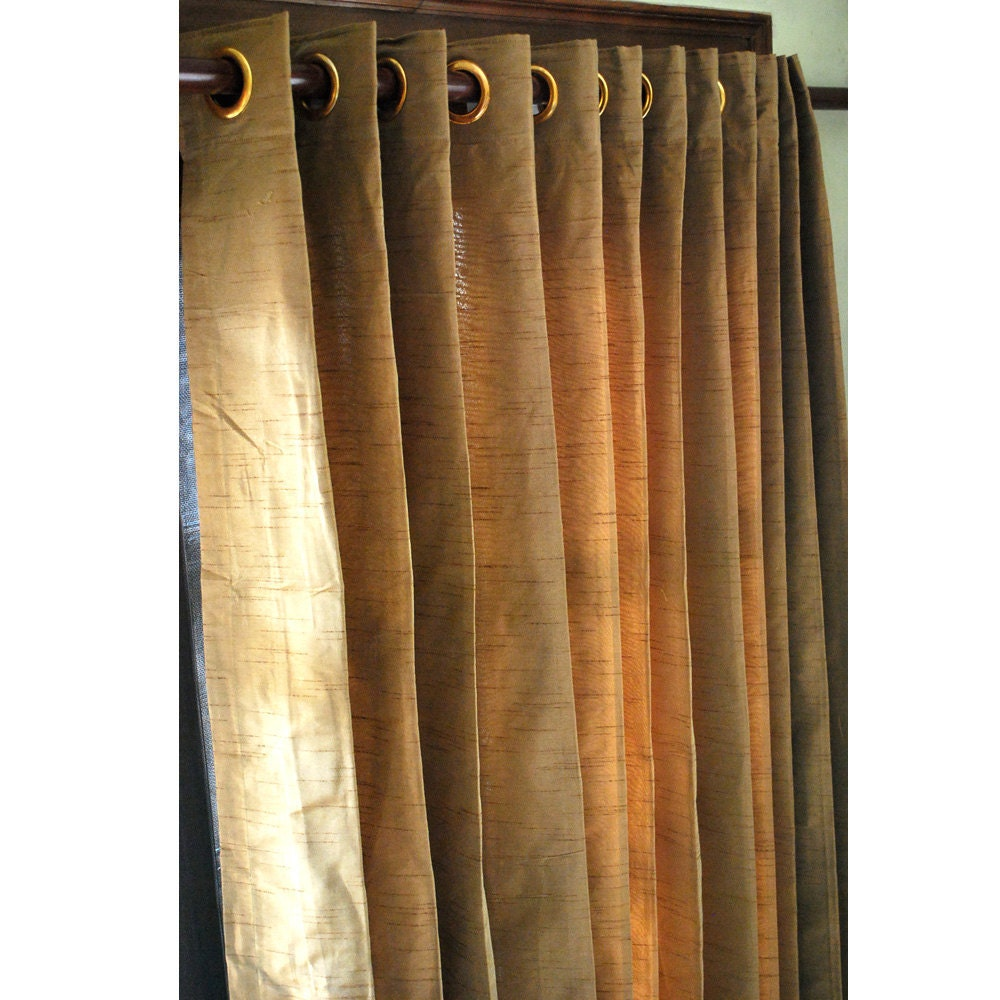 pair of gold brown silk curtain panels 26x84. Black Bedroom Furniture Sets. Home Design Ideas