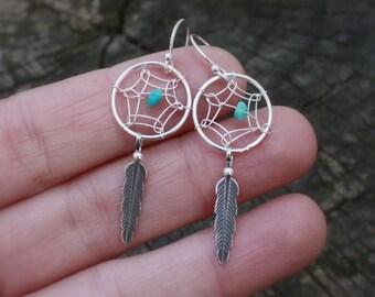 Dreamcatcher Earrings - Sterling Silver Dream Catcher Dangles . Jewelry . Earrings . Native American . Tribal . Bohemian