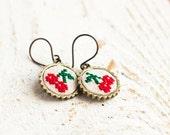 Cherry earrings - embroidered cherries - garden party earrings - e015