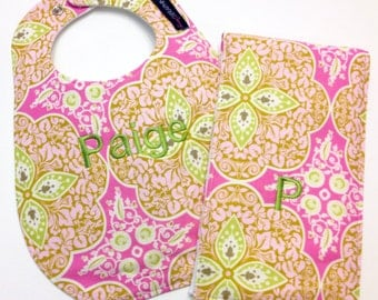 Monogrammed Bib and Burp Cloth set - Amy Butler Daisy Chain fabric - Etsykids Team - Pink and Green - Personalized Baby Gift