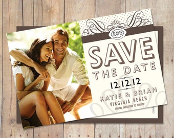 Save The Date Card or Magnet Vintage Classy Wedding