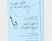 Engagement Party Invitation, Couples Bridal Shower, Two Less Fish in the Sea, Rings, Nautical, Fishing, Lake, Digital File