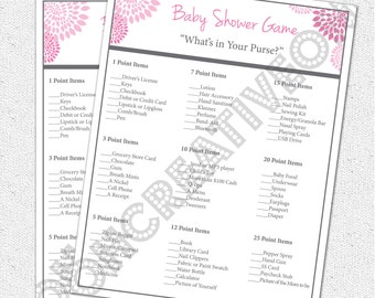 Baby Shower Game, What's in Your Purse Pocketbook, Printable Girl Hot and Pale Pink and Charcoal Grey Gray Floral, Digital File