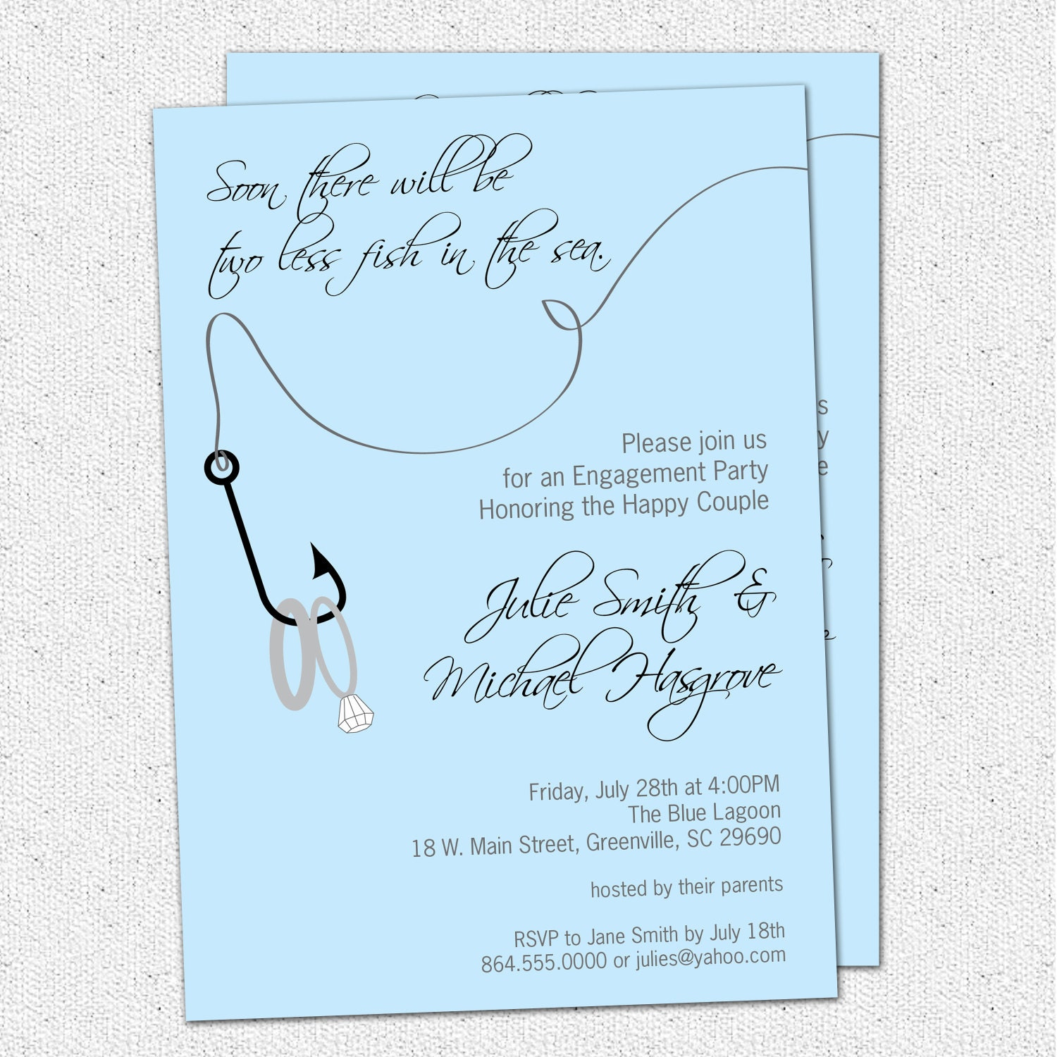 Engagement party invitation couples bridal shower two less for Invitation for engagement party