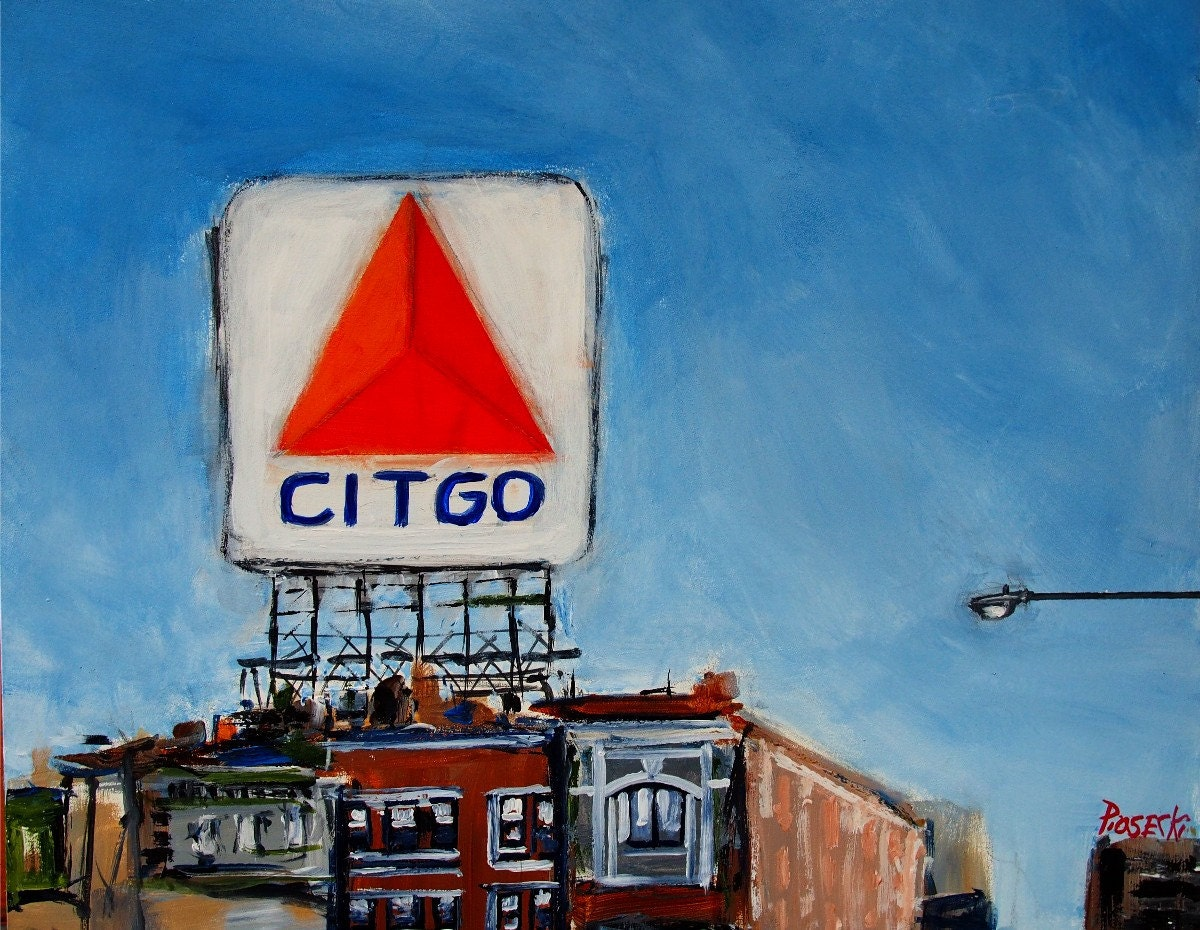 Sale Free Shipping Citgo Sign Boston Original 8x10 Acrylic