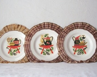 vintage plate wall hanging - swedish swiss - set of three - ribbon trim - kitchen decor