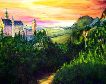 Neuschwanstein Castle, A4 Fine Art German Landscape Painting Print