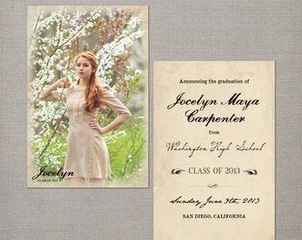 "High School Graduation Announcement Cards, 4x6, Graduation Announcement, the ""Jocelyn"""