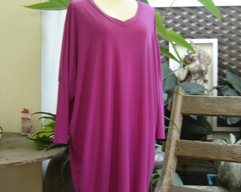 M-XL Soft Spandex V neck Comfy Tunic - Violet