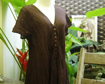 Comfy Roomy V Short Sleeves Top - Choc Brown