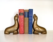 Vintage Brass Bookends, Circus Seal, Zoo Animal Figurines, Sealion Statues, Gold Tone Hollywood Regency