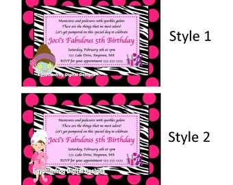 Another Year Fabulous, Spa, Zebra, Invitation - Two Styles to choose from -  You Print