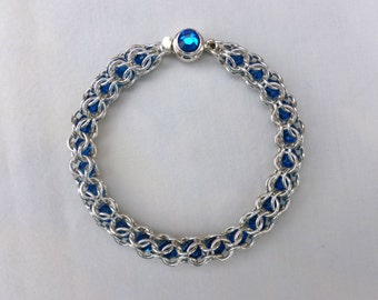 Swarovski Crystal Silver Filled Inverted Chainmaille Bracelet w/Sterling Silver Clasp