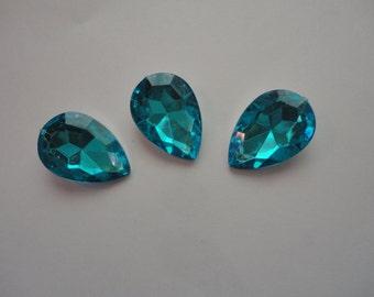 Kawaii blue acrylic rhinestone  waterdrop blue   3 pcs---USA seller