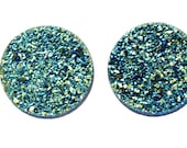 Grade AAA 2 Pieces Green Round Calibrated Druzy Agate 18mm Cabochon B43DR2212