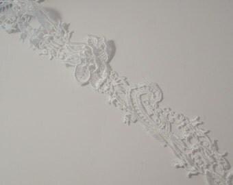 White Floral Design Venise Lace Trim--One Yard