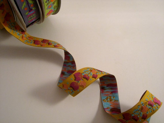 Fuchsia on Gold floral Jacquard Ribbon from  Anna Maria Horner--One Yard