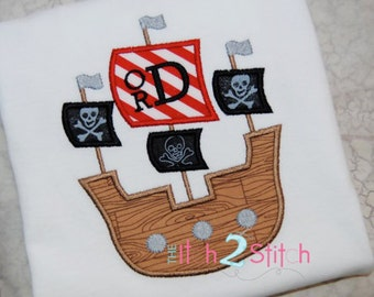 Pirate Ship Applique Design for  boys (font is NOT included) in Hoop Size(s) 5x7 and 6x10 INSTANT DOWNLOAD now available