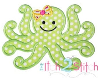 Girly Octopus Applique Design (font NOT included) In Hoop Sizes 4x4, 5x7, and 6x10 INSTANT DOWNLOAD now available