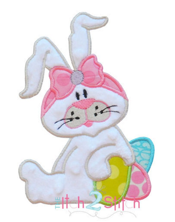 Easter bunny applique design for machine embroidery hoop