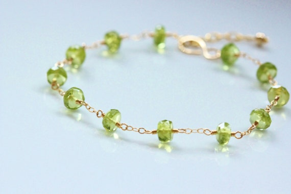 Green Peridot Bracelet - 14k Gold Filled Wire Wrapped, Adjustbale, August Birthstone, Tin Cup, Semiprecious Gemstone
