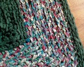 "Crochet Rag Rug  32"" x 27""  Heart in bold colors of Green, Garnet, Plum, Teal and Ivory"