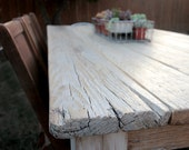 8ft Reclaimed Wood Farmhouse Dining Table // Sun Bleached Top // Milk Wash White Legs - MonkandHoney