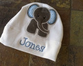 Reserved for Kristin Personalized Baby Elephant Jersey Knit Appliqued Hat