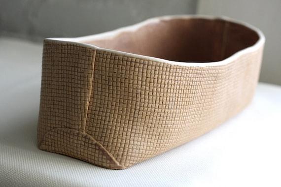 Large Burlap Brown Fruit Bowl - Handmade ceramic burlap pot