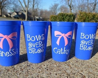 Personalized Bachelorette Cups, Set of 4 Tumblers, Beach, Bows Over Bros, Party Cups, Girls Weekend, Bachelorette Weekend