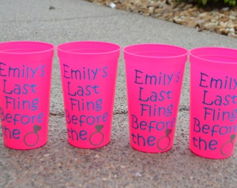 Personalized Bachelorette Cups, Set of 4 Tumblers, Beach, Party Cups, Girls Weekend, Bachelorette Weekend
