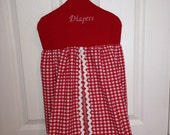 Red and White Gingham Diaper Stacker