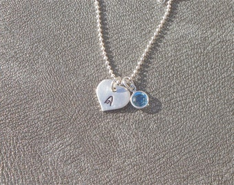 Personalized Initial Sterling Silver Heart Charm with Swarovski Crystal Birthstone - Gifts for Her - Flower Girl