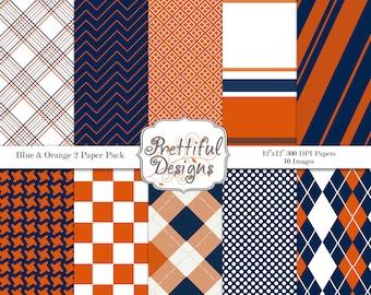 Digital Paper pack for Digital Scrapbooking, Photography, Card Making, Sports Team Colors Blue Orange