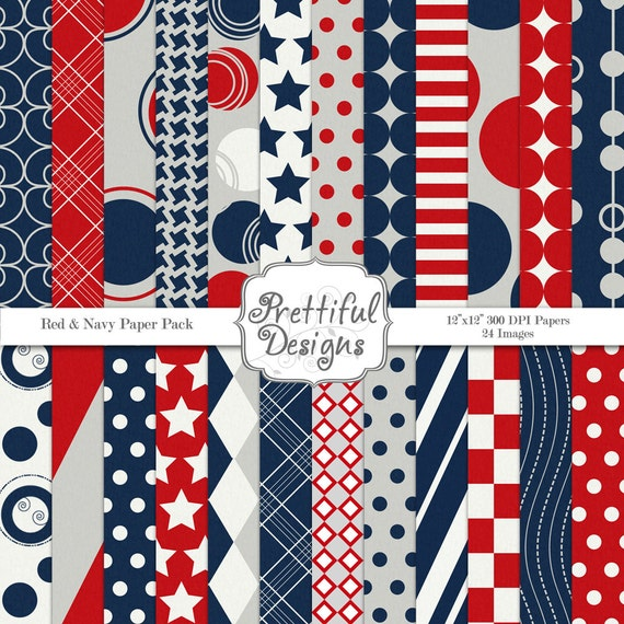 4th of July Digital Paper Pack  - Personal and Commercial Use - Patriotic