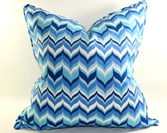 Free shipping, pair of Jonathan Adler Wabash Aquamarine Blue Pillow Cover, Linen Pillow, Cushion, Toss Pillow, Kravet