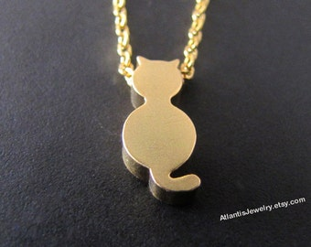 Tiny Cat Necklace Pendant Necklace  Charm Necklace Jewelry Gift