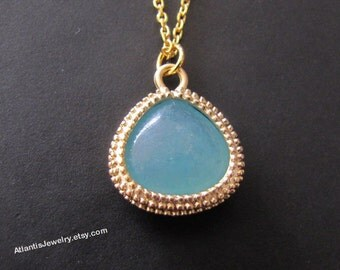 Amazonite Glass Necklace Pendant Necklace Jewelry Gift