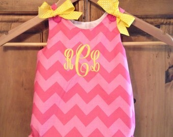 Baby girl bubble in pink tonal chevron with a monogram