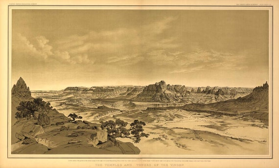 Grand Canyon Drawing USGS 1882 Birds Eye View Virgen