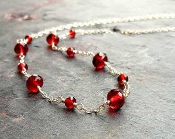 Strand Garnet Necklace, Sterling Silver Red Gemstone Necklace, January Birthstone, Simple & Delicate