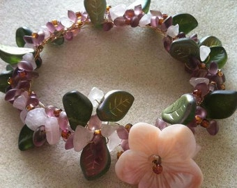 Old Rose Bracelet, Romantic Jewelry, Handmade Jewelry, OOAK