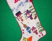 Christmas Stocking Kit - Crewel Embroidery Heirloom Snowman Scene Personalized Colorful Xmas Decoration