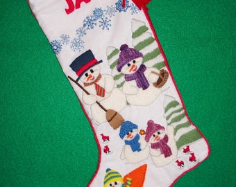 Left Facing Christmas Stocking Kit - Crewel Embroidery Heirloom Snowman Scene Personalized Colorful Xmas Decoration